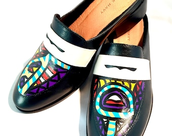 Handpainted leather loafers