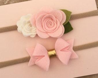 Baby Felt Flower Headband-Baby Flower Headband-Baby Headband, Newborn Headband, Infant Headband, Toddler Headband