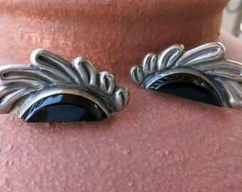 AMAZING VINTAGE EARRINGS, Onyx &  Silver, Handmade, Circa 1940's, Screw back