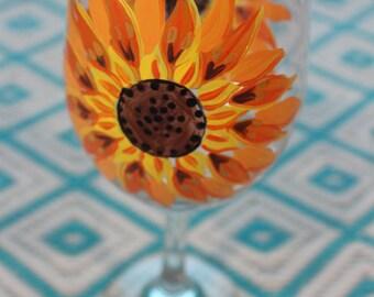 Double Sunflower Wine Glass