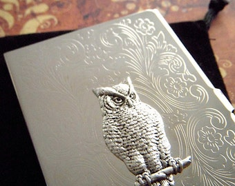 Owl business card etsy owl business card case victorian owl silver plated slim fancy vintage inspired scroll pattern popular classic colourmoves
