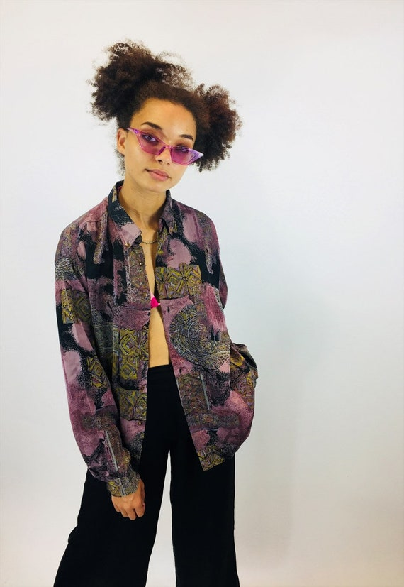 a6c7ab363c0 Vintage 90 s Funky Abstract Patterned Summer Shirt