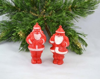 Vintage Celluloid Candy Container, Hard Plastic Santa Claus Candy Container Christmas Ornament