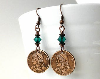 Coin earrings, Panamanian, 1982, Native American, Coin jewelry, Swarovski earrings, May birthstone, Emerald crystals, Vintage earrings, Coin