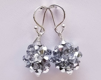 Crystal Cal, Swarovski, Crystal Ball, woven, Sterling silver, earrings, Silver, Metallic