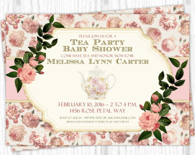 Tea Party Shower Invitation, Peach and Rose Shower Invite, Tea Pot Digital Design, CUSTOM, 4x6 or 5x7 size, YOU print