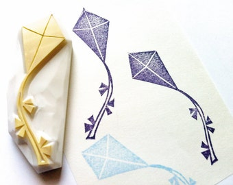 flying kite rubber stamp | toy stamp | birthday baby shower card making | gift wrapping | diy art journal | hand carved by talktothesun