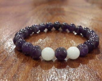 Amethyst & Jade bracelet natural stone jade bracelet beads jewelry genuine beads Amethyst jewelry for man for woman christmas eve noel gift