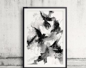 Ravens, Black And White Print, Ink Drawing, Bird Poster, Crow Print, Raven decor, Bird Lover, Raven Painting, Animal Art, Wall Print, Messy