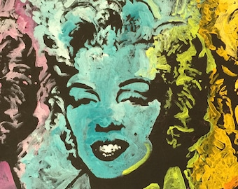 Rainbow Marilyn Monroe Original Painting on Canvas by Matt Pecson MADE TO ORDER Pop Art Painting Andy Warhol Best Selling Items Gift for Her