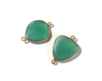 2 Green Onyx Charms, Matched Pair of Gold Plated 25mm x 17mm Bezel Set Pendants with Two Loops, Jewelry Supplies (C-Go4c)