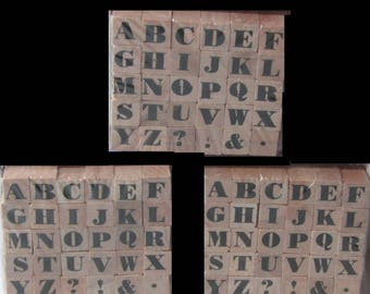 "ALPHABET RUBBER STAMPS, 3 Sets, 1/4"" by Hampton Art"
