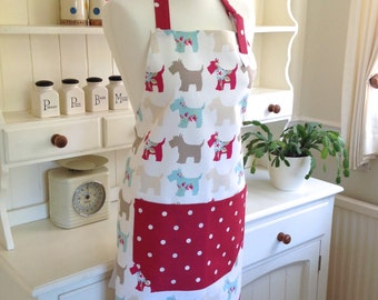 Apron, Scotties Apron, Red Dotty Apron, Ladies' Apron, Adjustable Apron, Full Apron, Womens Apron, Scotties, Red Dotty Apron, Kitchen Baking