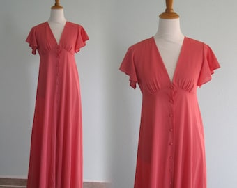 John Kloss Nightgown - Romantic 70s Pink Nightgown with Flutter Sleeves - Vintage John Kloss for Cira Nightgown - Vintage 1970s Nightgown M