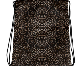 Drawstring bag - Leopard print, fun, playful - Allow 3 weeks for delivery