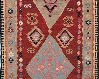 "Kilim rug, Vintage Persian 1970's Tribal  Kashkuli - Kilim, 5'6"" x 13'11"