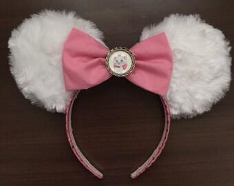 Disney inspired Marie Minnie Mouse ear headband