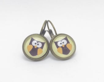 OWL Stud Earrings / flower pattern choice