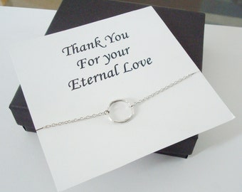 Infinity Twiggy Circle Silver Necklace ~~Personalized Jewelry Gift Card for Mom, Step Mom, Best Friend, Sister, Step Sister, Bridal Party