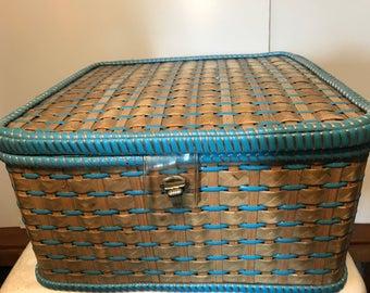 Retro Sewing Basket medium size retro storage 1960's plastic weave medium size blue satin interior pearl button detail.