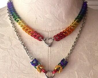 Pride Heart Necklace- LGBT Pride