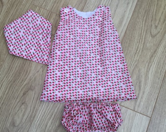 Baby toddler girl summer dress outfit pretty strawberries polycotton