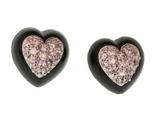 Heart Stud Earrings/ Rhodium Earrings/ Hypoallergenic Earrings/Hypoallergenic Stud
