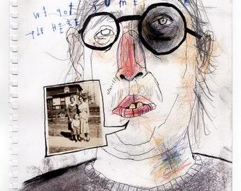 Ugly - Original Mixed Media Illustration / Collage