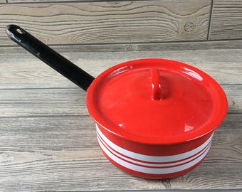 Red and White Striped Enamel Pot with Lid