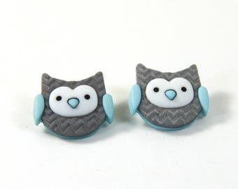 Owl earrings, owl studs, Owl jewelry, Gray blue owl earrings