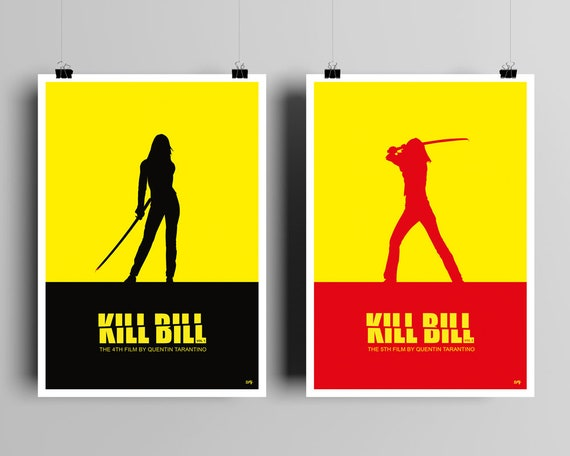 Kill Bill Volume 1 & 2  // Set of 2 Unique Art Prints // Quentin Tarantino // Uma Thurman // Minimalist Movie Poster Set