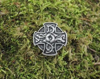 Dragons, antique silver finish cross