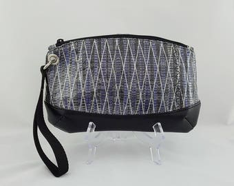 Blue Recycled Sailcloth Wristlet, Navy Blue Anchor Lining, Carbon Fiber Recycled Sail Bag