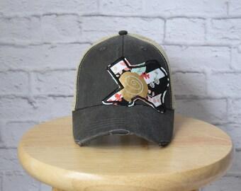 Monogrammed Trucker Hat - Texas Trucker Hat in Distressed Black - Monogrammed State Hat - Monogrammed Ladies Hat - Trucker Hat