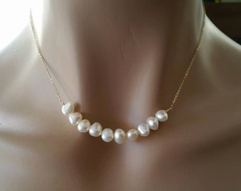 Row of Freshwater Pearl Necklace - Natural White Freshwater Pearl, Gold Fill Necklace, Line Pearl Necklace -  Weekly Deals