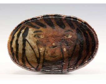 Hand Pinched Oval Wood Fired Bowl by Jenny Mendes - Oh
