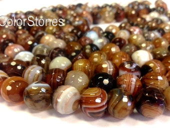 Miracle Agate 6 8 10 or 12 mm Faceted Round Beads - Full Strand - Earth Tones Brown Agate (G3533W16283034-BHM1S12)