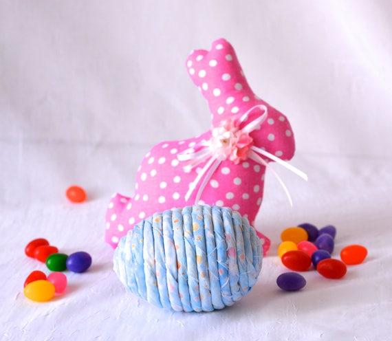 Easter Egg Ornament, Handmade Blue Batik Easter Egg Decor, Easter Egg Hunt, Hand Coiled Fiber Easter Egg, Pastel Blue Easter Egg