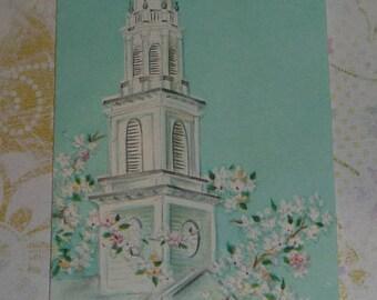 Church Steeple With Flowers Vintage Slim Jim Hallmark Card