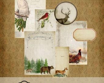 Vintage hiver Journal Kit imprimable téléchargement numérique