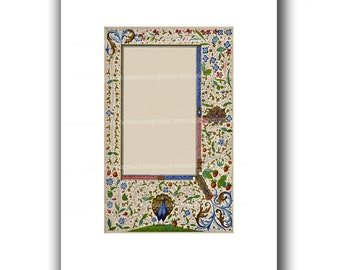 Peacock Illuminated Manuscript Page for Save the Date Wedding Invitations Engagement Parties Menu Blank DIY Stationery Florentine Design 869