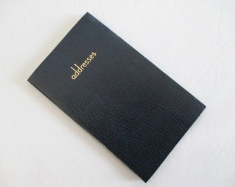 Address Book Navy Blue Leather Gold Leaf Pages Made in England