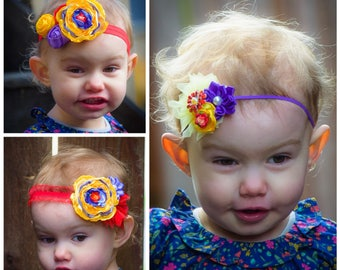 Red, yellow, and purple princess headband - singed satin - handmade couture - flowers - baby - toddler - matching - mommy & me