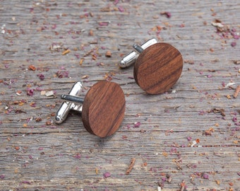 Wood Cufflinks, Round rosewood cufflinks, Wedding Cufflinks, 5th Wedding Anniversary Present, cufflinks for men, groomsmen, customized