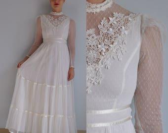 70s Gunne Sax Wedding Dress // Vintage Gunne Sax Wedding Dress // Vintage Lace Wedding Dress // Size 5 XS // High Neck Lace