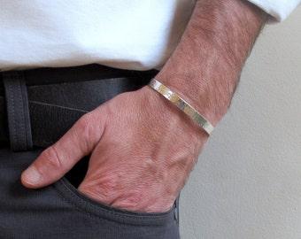 Mens cuff - Sterling silver hammered cuff , Mens silver cuff bracelet, Mens jewelry