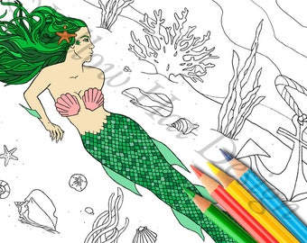 Mermaid Coloring Page, Under the Sea Coloring Page, Anchor Coloring Page, Adult Coloring Page, Ocean Coloring Page