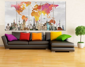 Large canvas art etsy extra large canvas art set world map canvas watercolor world map wall art canvas map colorful wall decor travel map art wanderlust gift 5 gumiabroncs Gallery