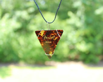 Guitar Pick Necklace: Tortoiseshell, Triangular guitar pick necklace, Grunge Guitar pick pendant, Unique musician necklace