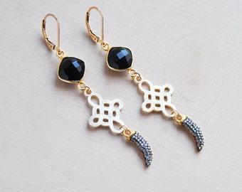Black Onxy Earrings, Onyx Earrings, Horn Earrings, Cross Earrings, Festival Earrings, Bohemian Earrings, Boho Earrings, Statement Earrings